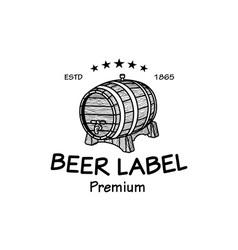 cask sketch Set of Vintage Logo Templates For Beer vector image