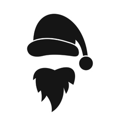 Santa claus hat and beard icon simple style vector