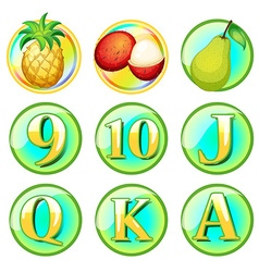 Fresh fruits and letters on round badges vector