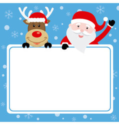 Santa claus card and reindeer with poster vector image