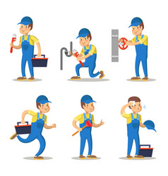 plumber cartoon character set vector image