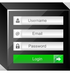 Login interface username and password vector