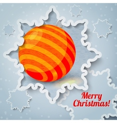 Merry christmas new year greeting card - paper cut vector image