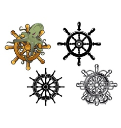 Octopus ans ship steering wheels vector