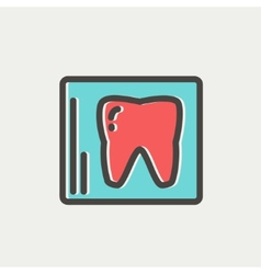 Tooth protected by a glass thin line icon vector