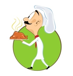 Cartoon chef carrying tray with chicken vector