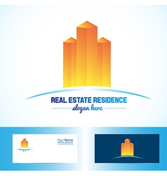 Orange real estate building logo vector