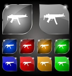 Machine gun icon sign set of ten colorful buttons vector