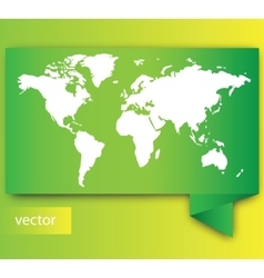 Paper World map on green vector image