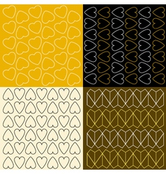 Several patterns with outline hearts vector