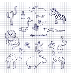 Hand-draw african animals vector