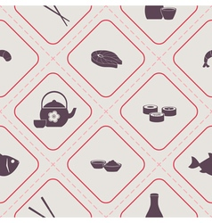 Seamless pattern with sushi and sake icons vector image