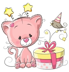 Kitten with gift vector