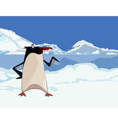 Cartoon penguin in snowy mountains and ice vector