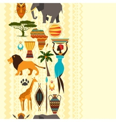African ethnic seamless pattern with stylized icon vector