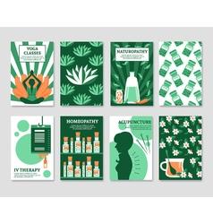 Alternative medicine cards set vector