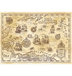 ancient pirate map of the caribbean sea vector image
