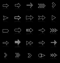 Arrow line icons with reflect on black vector image vector image