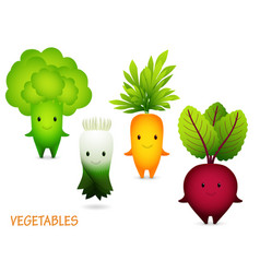 Broccoli leek carrot beet cartoon characters vector