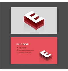 business card letter E vector image vector image