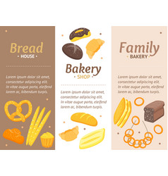 Cartoon color bakery banner card vecrtical set vector