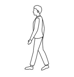 Character young man walking outline vector