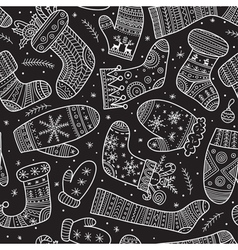 christmas mittens and socks mix seamless pattern vector image vector image