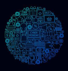 Cyber monday line circle concept vector