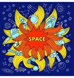 Doodle space color elements vector image