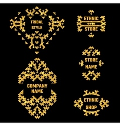 Ethnic style gold symbol 1 vector