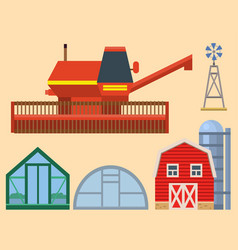 Farm harvesting greenhouse equipment vector