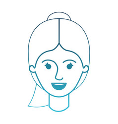 Female face with ponytail hairstyle in degraded vector