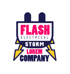 Flash electrical storm company logo template vector