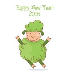 Funny green sheep symbol 2015 year vector