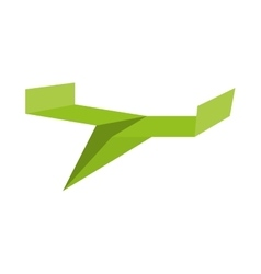 Green paper plane toy air vector