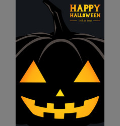 happy halloween pumpkin silhouette greeting vector image vector image