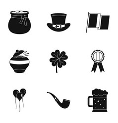 Happy patrick day icon set simple style vector