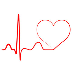 hospital heart logo with pulse heart beat icon vector image vector image