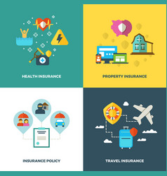 insurance flat background concepts vector image vector image