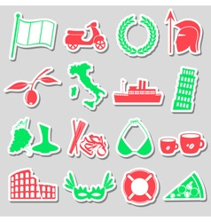 Italy country theme various stickers set eps10 vector