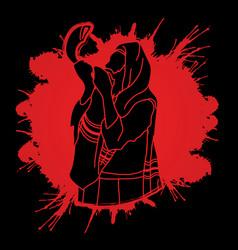 jew blowing the shofar sheep horn vector image vector image