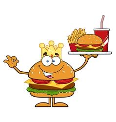 King hamburger cartoon vector