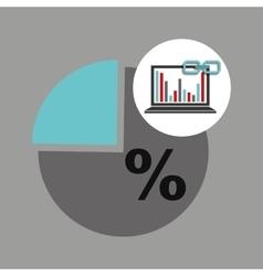 Laptop graphs chart statistics link web vector