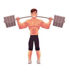 man bodybuilder weightlifter working out vector image vector image