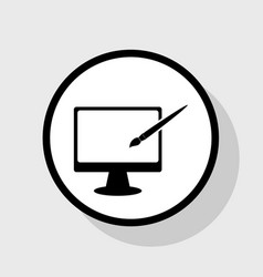 Monitor with brush sign flat black icon vector