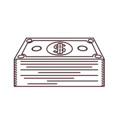 Monochrome silhouette of dollars bill stack vector