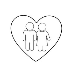 monochrome silhouette of heart and pictogram vector image