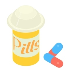 Pills in jar icon isometric 3d style vector