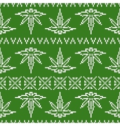 Pixel art game style sweater weed leaf seamless vector image vector image