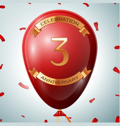 Red balloon with golden inscription three years vector